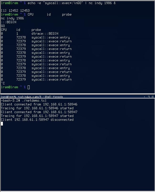 DTrace server screenshot